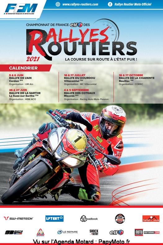 Championnat de France des Rallyes Routiers - Cerdon (01) - La Suze sur Sarthe ( 72) - Villecomtal (12) - Mauves (07)  - Rouillac (16)